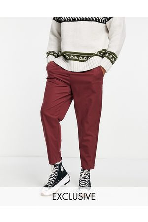 Reclaimed Inspired cropped relaxed trouser in burgundy