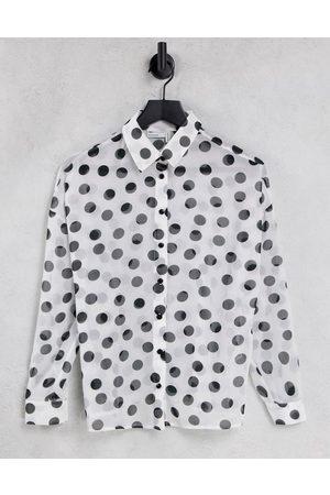 ASOS Long sleeve shirt in mono spot print-Multi