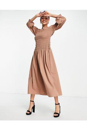 ASOS Shirred high neck midi dress in mocha-Brown