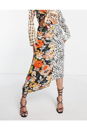 ASOS Satin midi skirt in spliced print-Multi