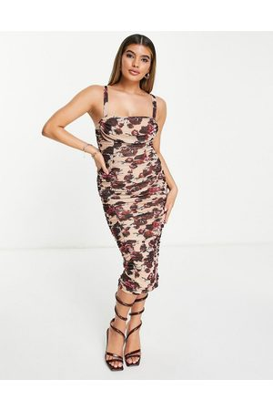 ASOS Cami ruched mesh midi dress in cream and wine floral print-Multi