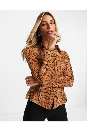 ASOS Slim fit snake print shirt with seam detailing in orange-Multi