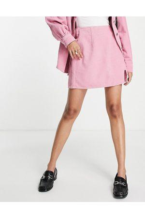ASOS Cord split front skirt in rose pink co-ord