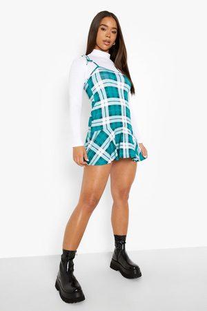 Boohoo Dame Bodycon kjoler - Roll Neck Top And Check Print Slip Dress