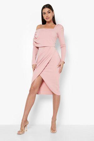 Boohoo One Shoulder Ruched Overlay Midi Dress