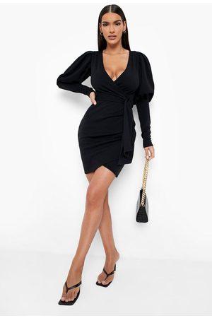 Boohoo Scuba Extreme Puff Sleeve Wrap Mini Dress