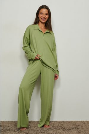 NA-KD Dame Bukser - Resirkulerte loungewear bukse med ribber og løs passform