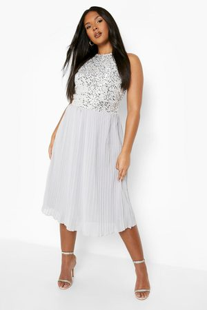 Boohoo Plus Occasion Sequin Contrast Midi Dress