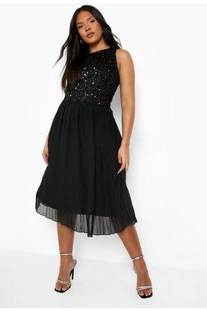 Boohoo Dame Festkjoler - Plus Occasion Sequin Contrast Midi Dress