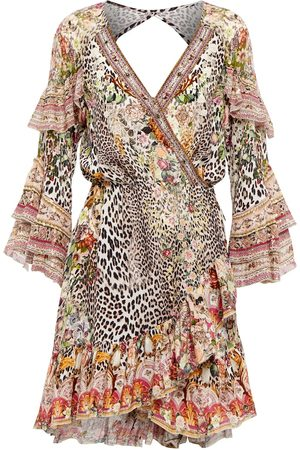 Camilla Dame Korte kjoler - Pure silk embellished wrap mini dress