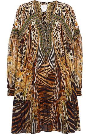 Camilla Pure silk embellished yoke mini dress